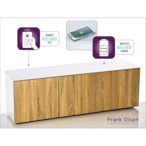 """Frank Olsen INTEL1500WOK White and Oak TV Cabinet For TVs Up To 70\"""" Assembled"""
