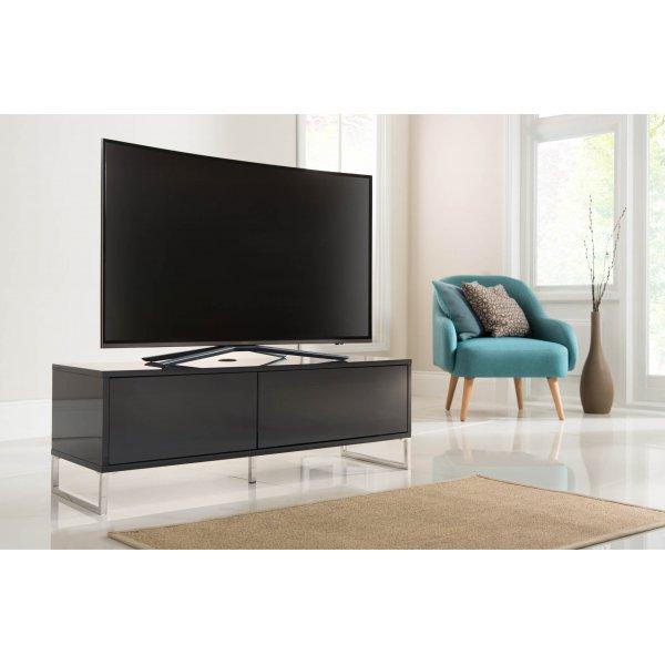 Alphason ADHE1200-BLK Helium 1200 TV Cabinet Stand - High Gloss Black