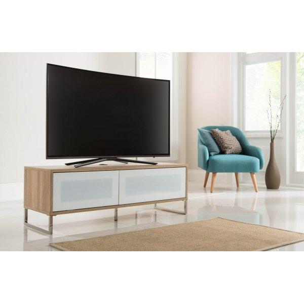 Alphason ADHE1200-LO Helium 1200 Light Oak TV Stand Cabinet