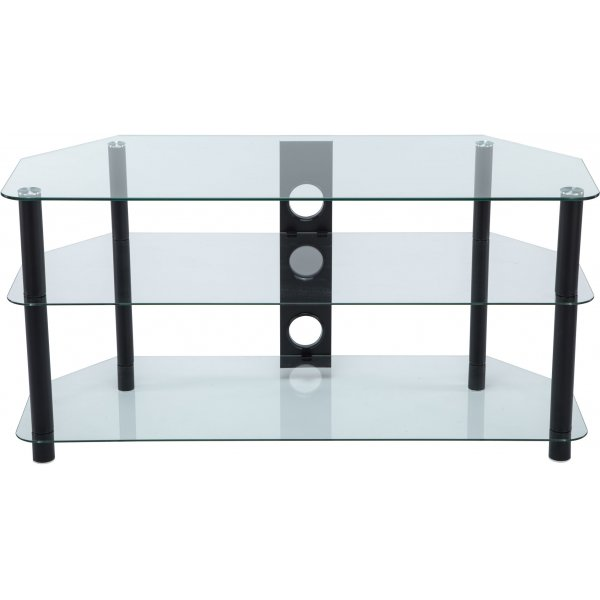 """Stealth Mounts 1000mm Clear Glass & Black Legs TV Stand for TVs up to 50\"""""""