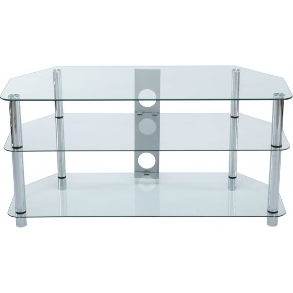 Stealth Mounts 1000mm Clear Glass & Chrome Legs TV Stand for TVs up to 50""