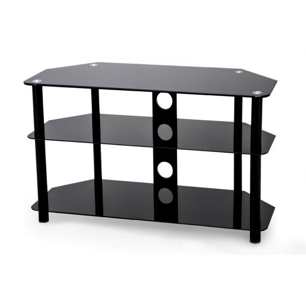 Stealth Mounts 800mm Black Glass TV Stand for TVs up to 40""