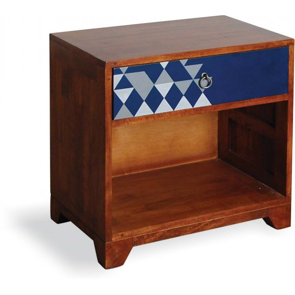 Ultimum Floral 1 Drawer Side Table with Navy Print