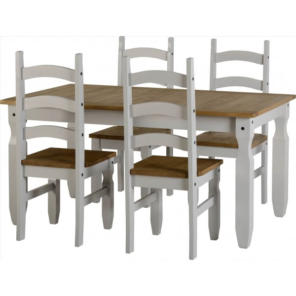 ValuFurniture Corona Dining Set - Table and 4 Chairs - Grey