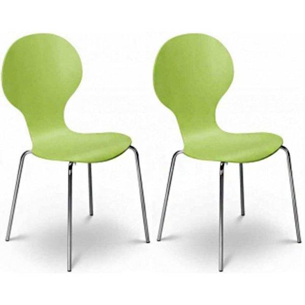 Julian Bowen Set of 4 Keeler Chairs Green Charm