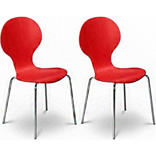 Julian Bowen Set of 4 Keeler Chairs Tomato