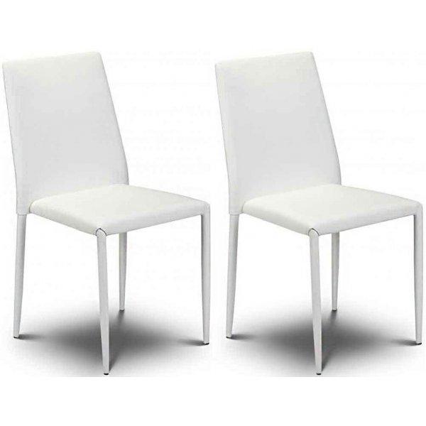 Julian Bowen Set of 4 White Jazz Stacking Chairs