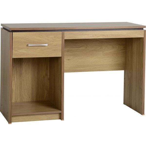Valufurniture Charles Computer Desk in Oak Effect Veneer with Walnut Trim