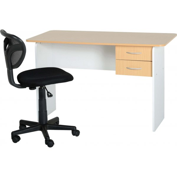 Valufurniture Jenny 2 Drawer Desk - Beech/White