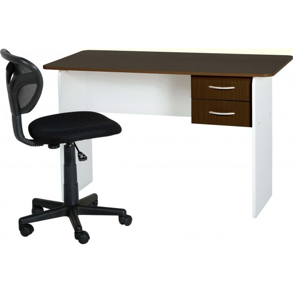 Valufurniture Jenny 2 Drawer Desk - Wenge/White