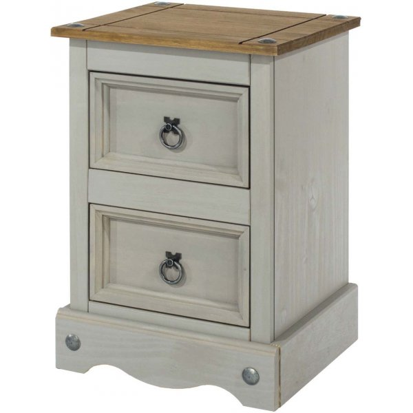Core Products Corona Grey 2 Drawer Petite Bedside Cabinet