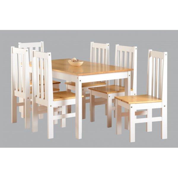 Valufurniture Ludlow 1+6 Dining Set Oak/White
