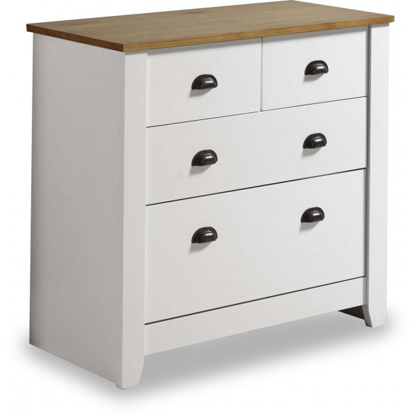 Valufurniture Ludlow 2+2 Drawer Chest White/Oak TV Stand