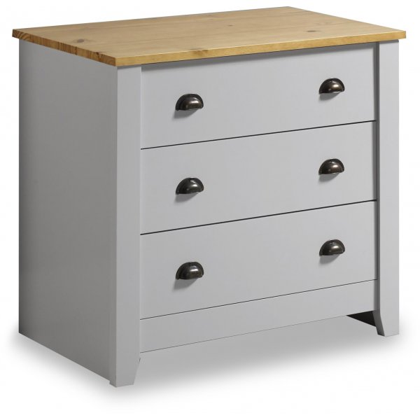 Valufurniture Ludlow 3 Drawer Chest Grey/Oak