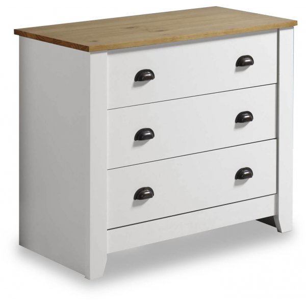 Valufurniture Ludlow 3 Drawer Chest White/Oak