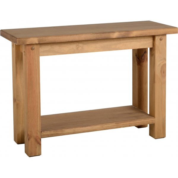 TNW Leon Console Table - Distressed Waxed Pine