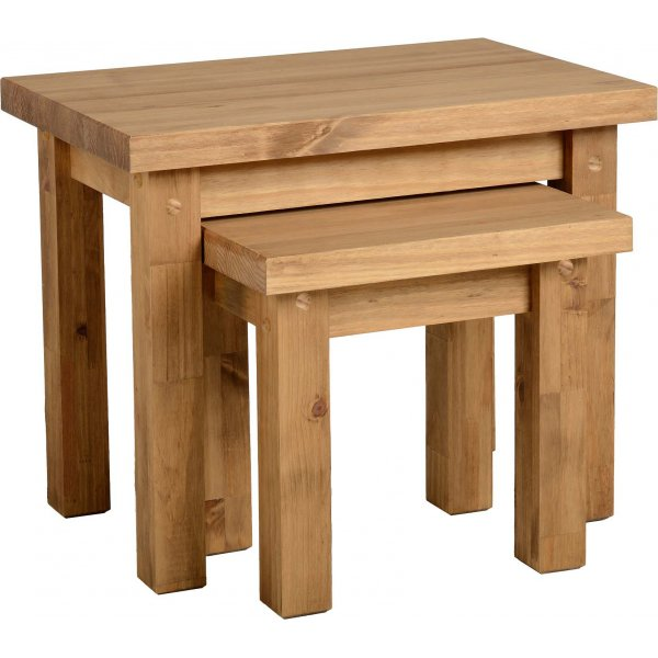 TNW Leon Nest of 2 Tables in Distressed Waxed Pine