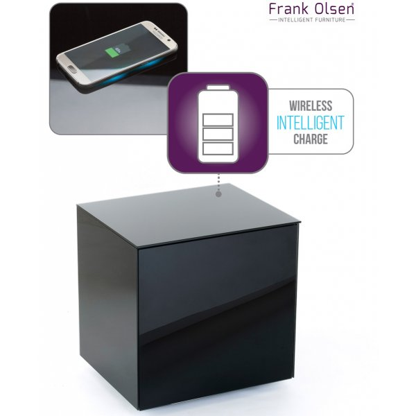 Frank Olsen INTELLAMP-BLK High Gloss Black Lamp Table with Wireless Phone Charging