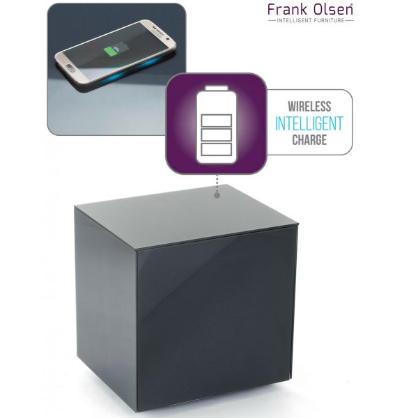 Frank Olsen INTELLAMP-GREY High Gloss Grey Lamp Table with Wireless Phone Charging