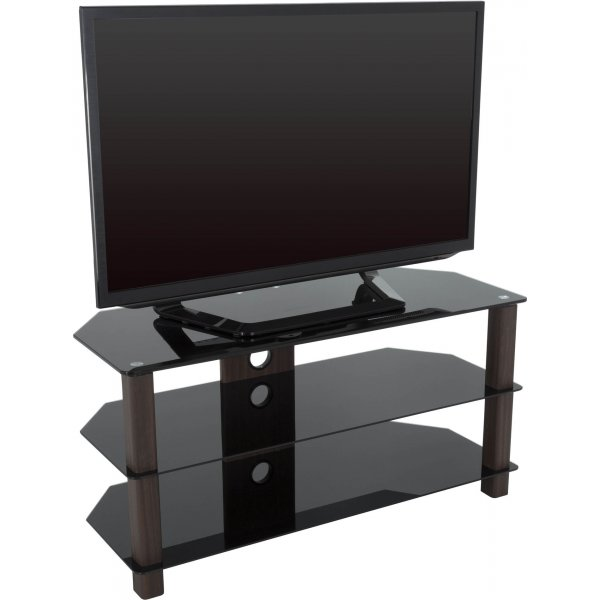 "AVF WG Series Glass Corner TV Stand for TVs up to 50"" - Walnut & Black"