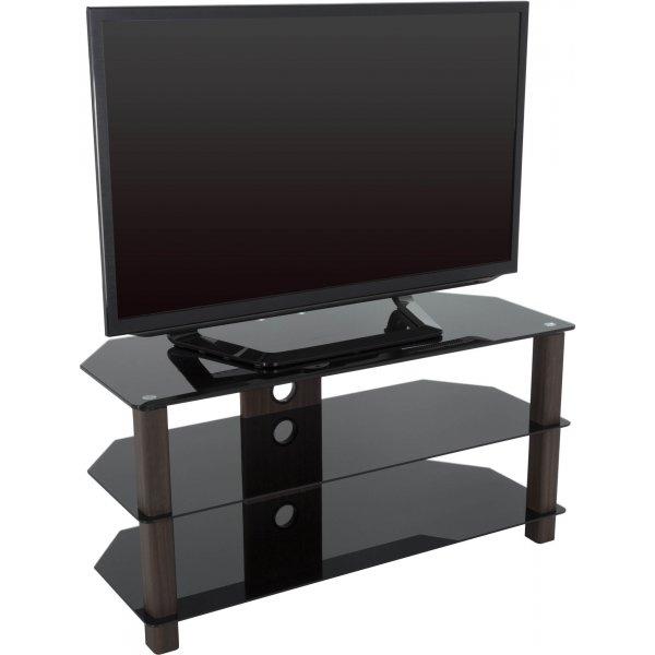 "AVF WG Series Glass Corner TV Stand for TVs up to 50\"" - Walnut & Black"