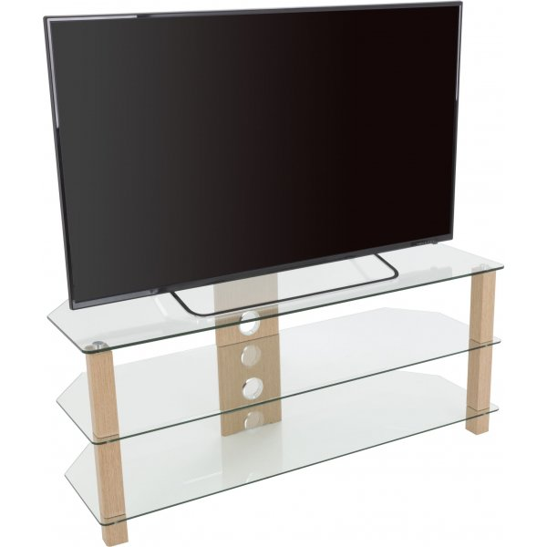 "AVF WG Series Glass Corner TV Stand for TVs up to 60"" - Oak & Clear"