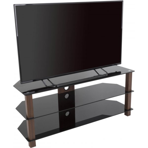 "AVF WG Series Glass Corner TV Stand for TVs up to 60"" - Walnut & Black"