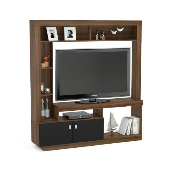 Mason and Bailey Darwin Walnut & Black Entertainment Unit For TVs up to 47""