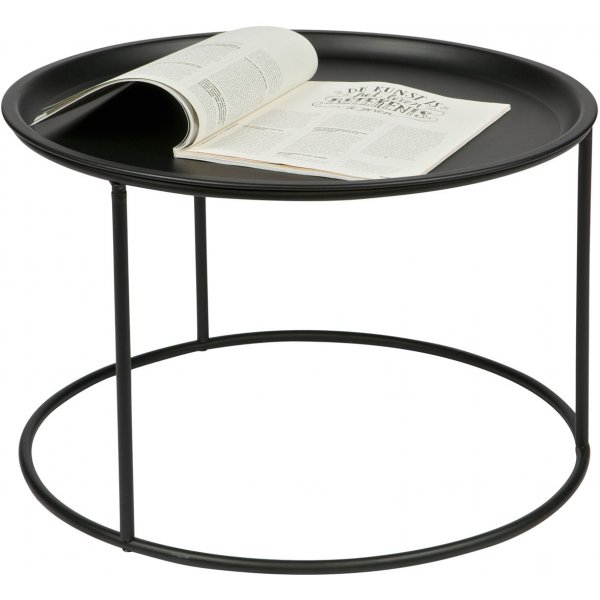 Woood Ivar Large Black Side Table with Separate Tray