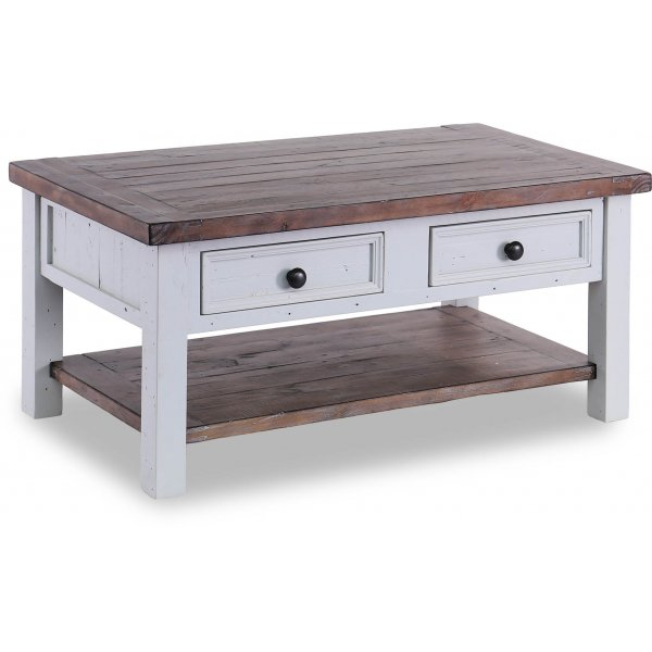 Besp-Oak Hamptons Coffee Table with 2 Drawers - Dark Pine & Grey