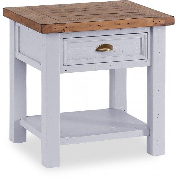 Besp-Oak Hamptons Lamp Table with 1 Drawer - Dark Pine & Grey