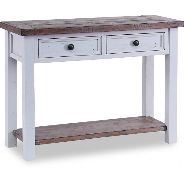 Besp-Oak Hamptons Console Table with 2 Drawers - Dark Pine & Grey
