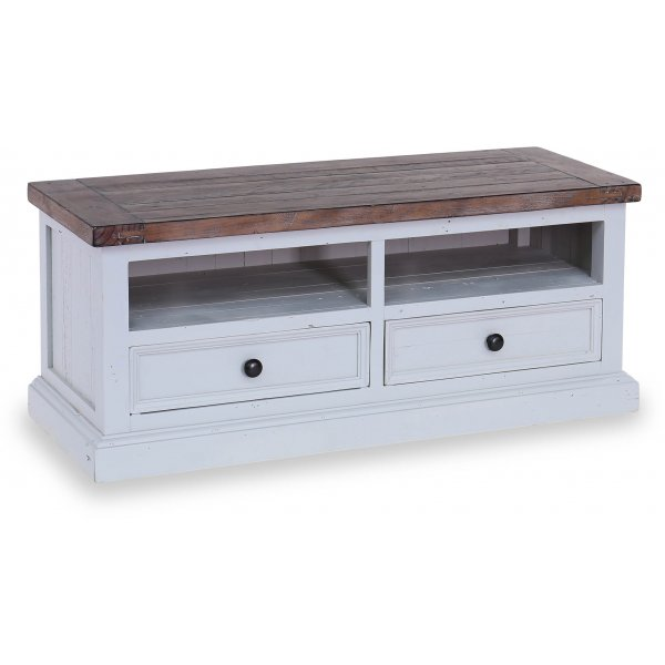 "Besp-Oak Hamptons TV Unit with 2 Drawers for up to 50"" TVs - Dark Pine & Grey"