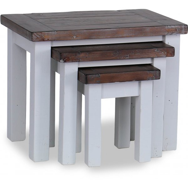 Besp-Oak Hamptons Nest of 3 Tables - Dark Pine & Grey