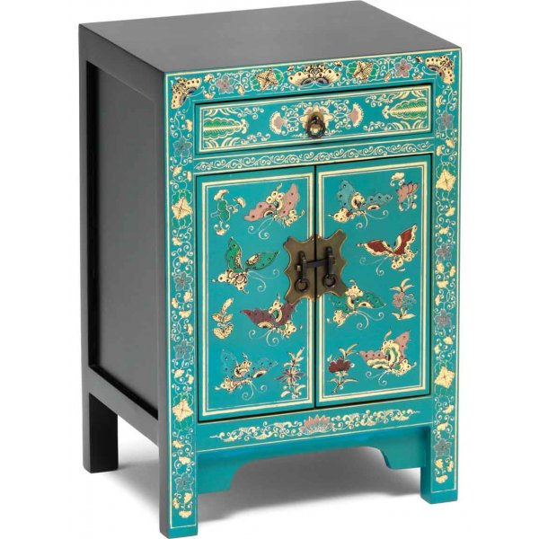 Baumhaus The Nine Schools Oriental Decorated Small Blue Cabinet