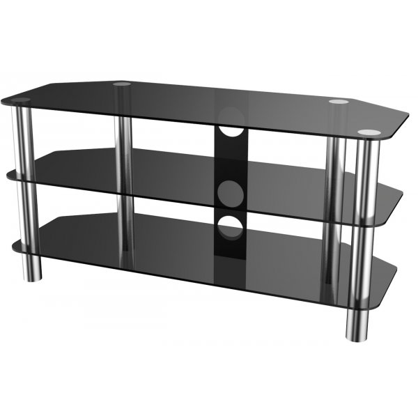 Stealth Mounts 1000mm Black Glass and Chrome TV Stand for TVs up to 50""