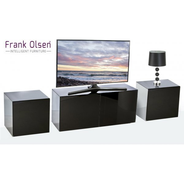Frank Olsen Black INTEL1100BLK TV Cabinet and 2 x INTELLAMP-BLK Lamp Tables