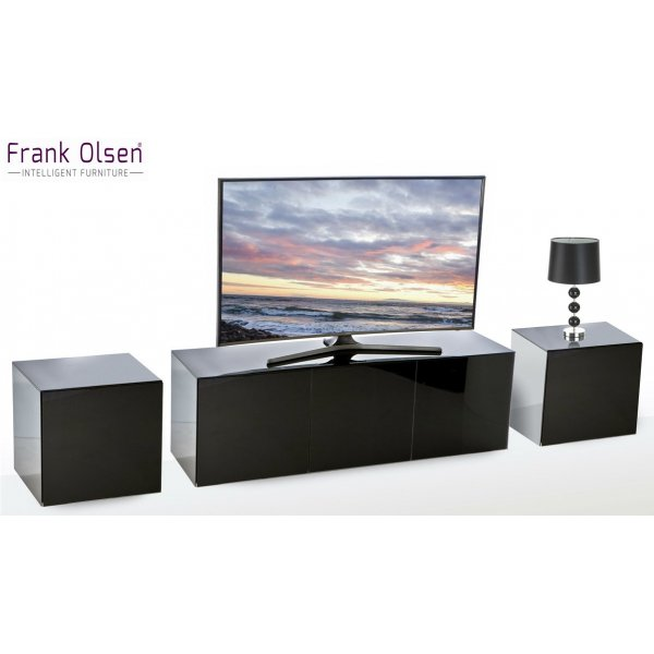 Frank Olsen Black INTEL1500BLK TV Cabinet and 2 x INTELLAMP-BLK Lamp Tables