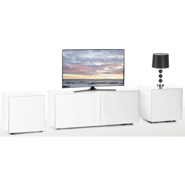 Frank Olsen White INTEL1100WHT TV Cabinet and 2 x INTELLAMP-WHT Lamp Tables