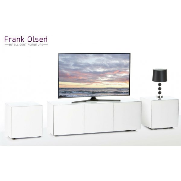 Frank Olsen White INTEL1500WHT TV Cabinet and 2 x INTELLAMP-WHT Lamp Tables