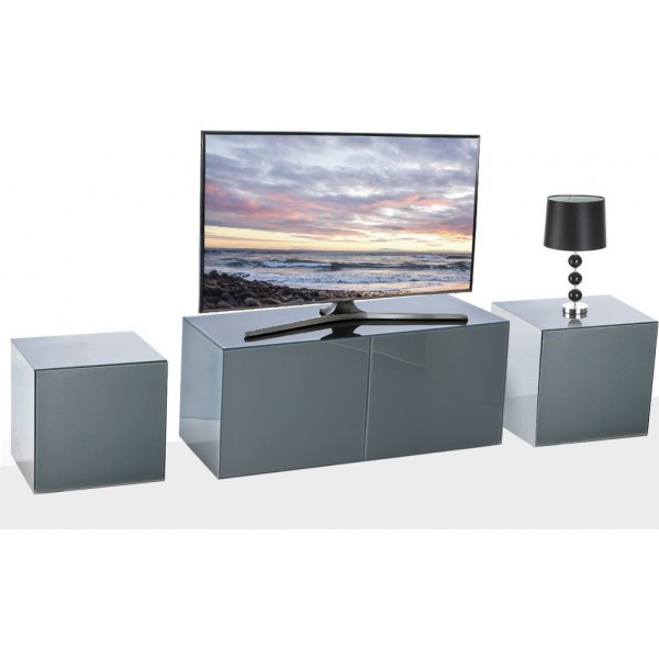 Frank Olsen Grey INTEL1100GRY TV Cabinet and 2 x INTELLAMP-GRY Lamp Tables
