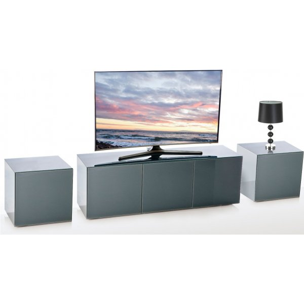 Frank Olsen Black INTEL1500GRY TV Cabinet and 2 x INTELLAMP-GRY Lamp Tables