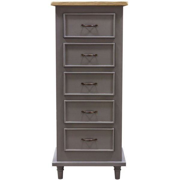 Mason and Bailey Thunder Grey Tallboy with 5 Drawers