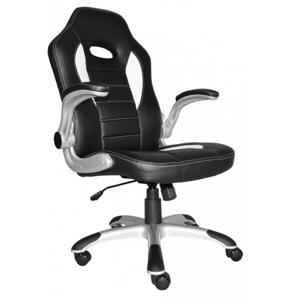 Alphason Talladega Black and White Leather Executive Chair