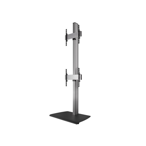 B-Tech BTF842/BS Universal Dual Stack Flat Screen Floor Stand - 2.4m