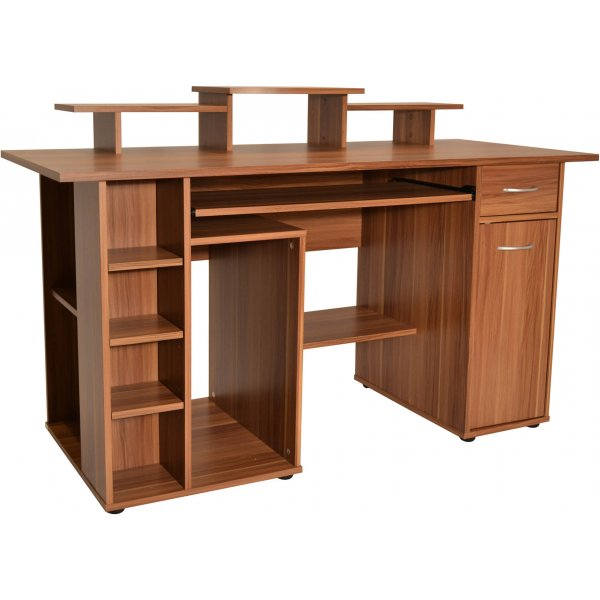 Alphason San Diego Workstation with Cupboard - Walnut