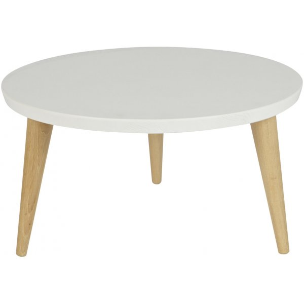 Woood Elin White and Pine Side Table 60cm Retro Legs