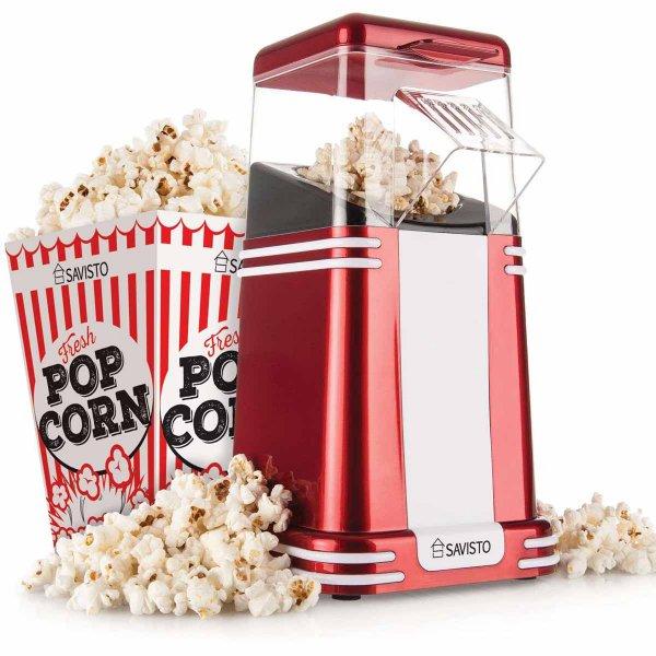 Savisto Metallic Red Vintage Style Popcorn Maker
