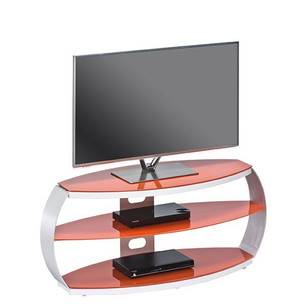 "Maja Pastel Red Glass TV Stand for up to 47"" TVs"