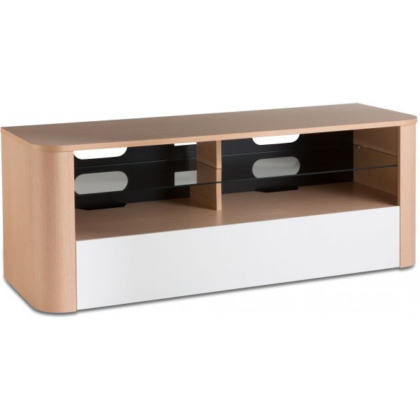 "Alphason Hugo 1260 TV Stand for TVs up to 60"" - Light Oak & White"